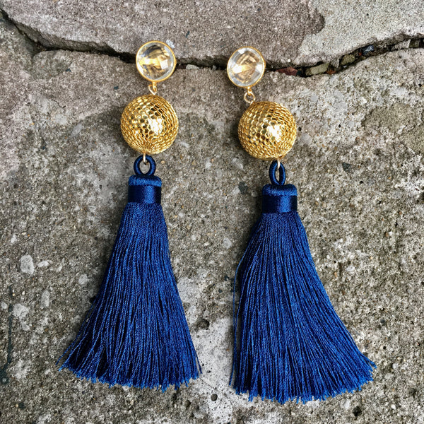 Silk Tassel Earrings | Navy + Disco Ball - burnmark