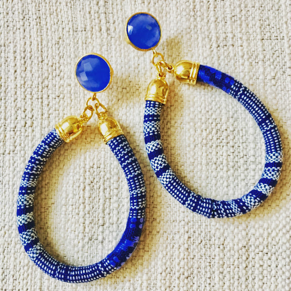 Tribal Hoop Earrings | Blue + Chalcedony - burnmark