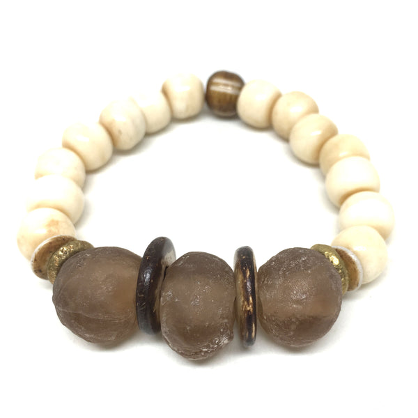 Ghana Glass Bracelet | Almond - burnmark