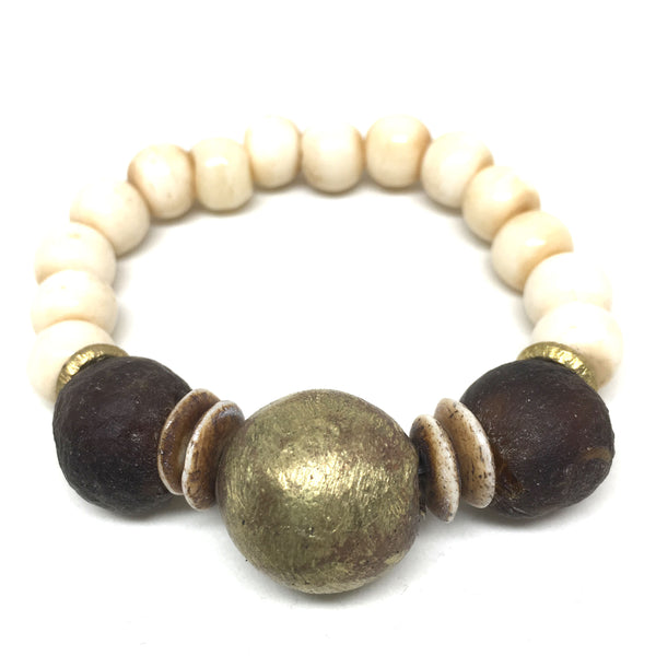 Ghana Glass Bracelet | Chestnut - burnmark