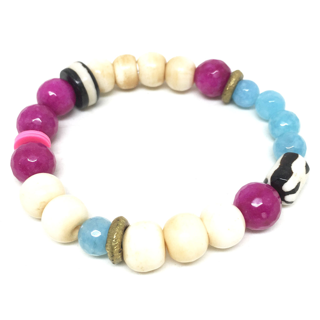 Summer Mix Gem Bracelet  | Fuchsia + Aqua - burnmark