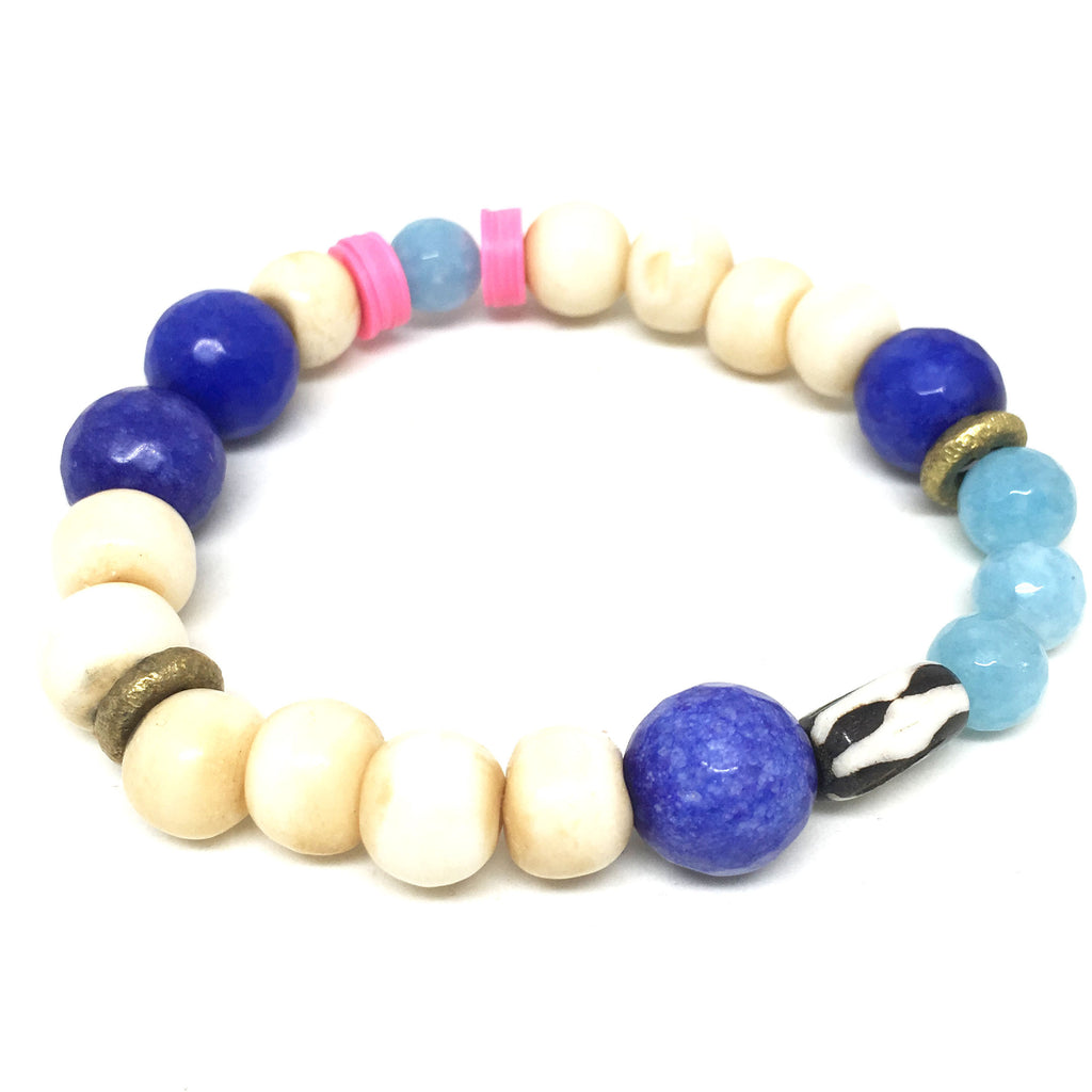 Summer Mix Gem Bracelet  | Cobalt Blue + Aqua - burnmark