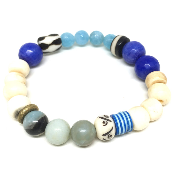 Summer Mix Gem Bracelet  | Amazonite + Cobalt Blue - burnmark