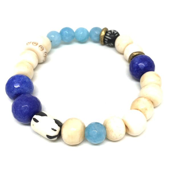 Summer Mix Gem Bracelet  | Aqua + Cobalt Blue - burnmark