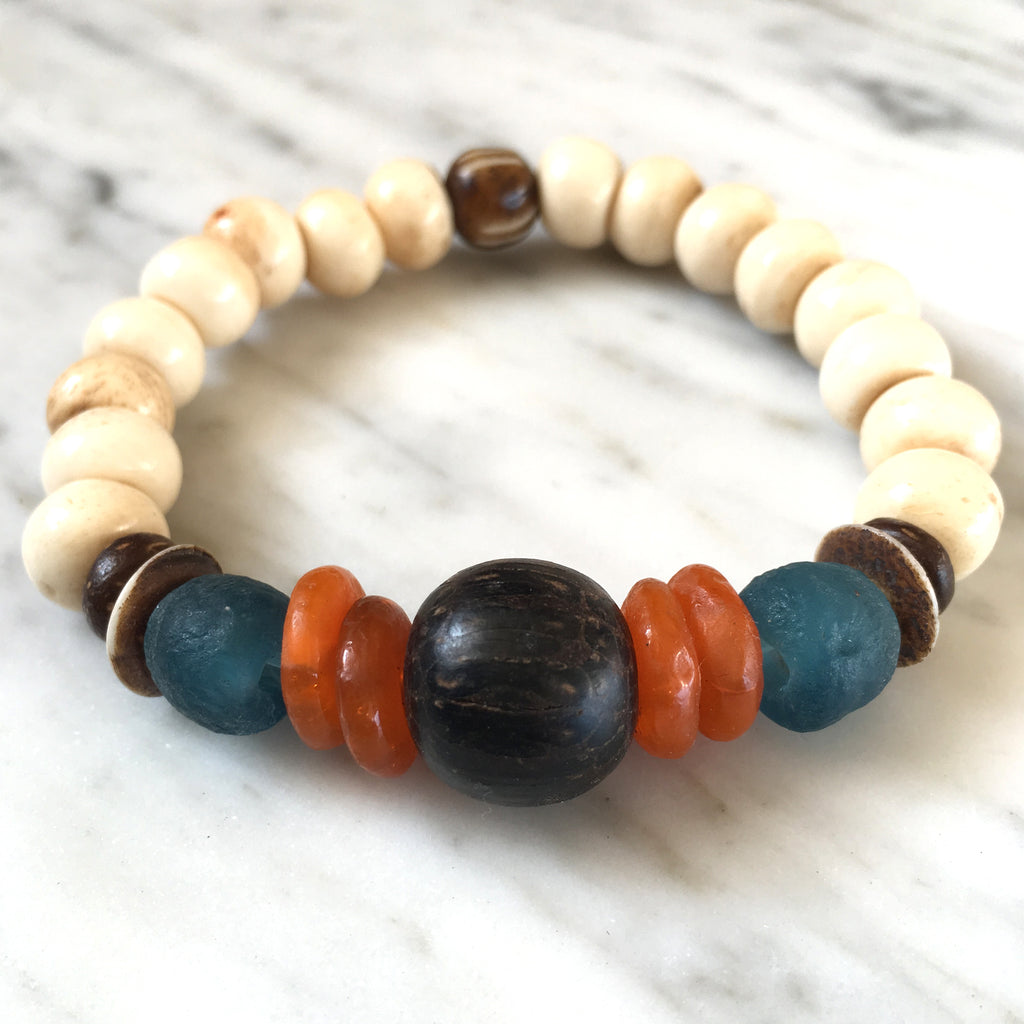 Tribal Bracelet | Palm Wood + Tangerine - burnmark