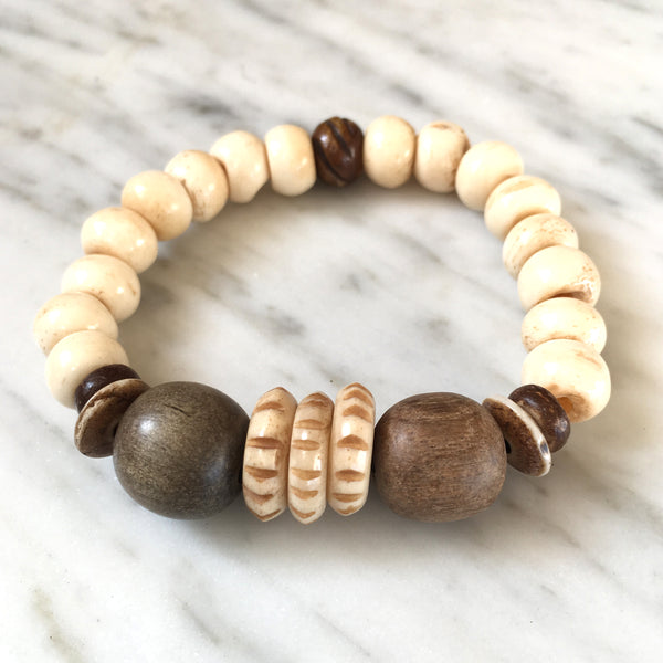 Tribal Bracelet | Palm Wood + Bone - burnmark