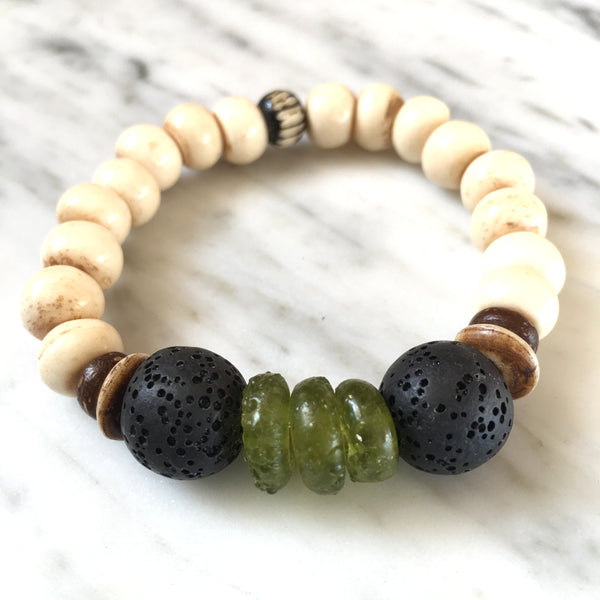 Ghana Glass Bracelet | Forest Green + Lava - burnmark