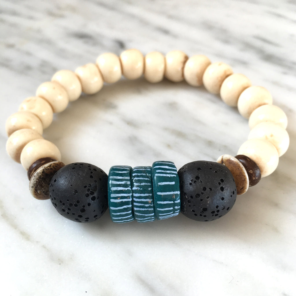 Ghana Glass Bracelet | Teal + Lava - burnmark