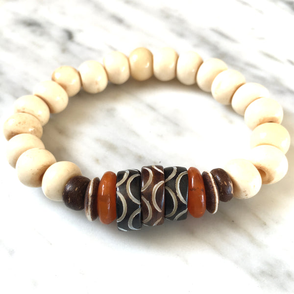 Ghana Glass Bracelet | Tribal + Tangerine - burnmark