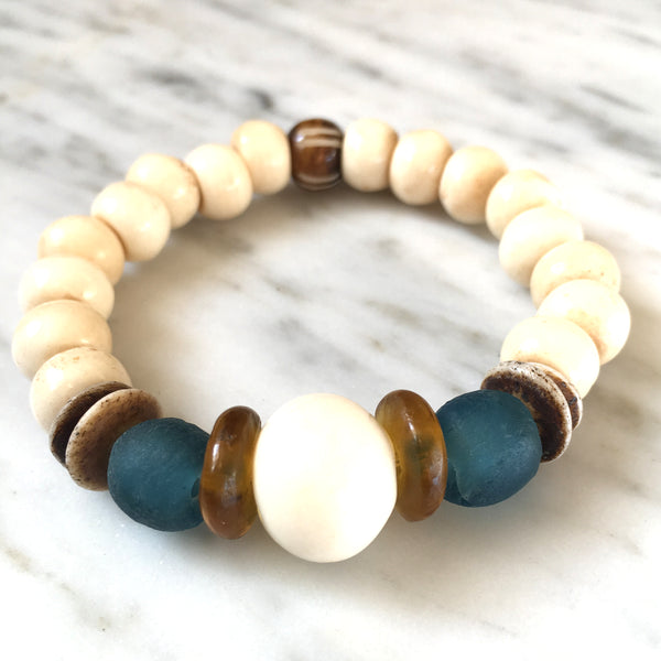 Ghana Glass Bracelet | Teal + Amber - burnmark