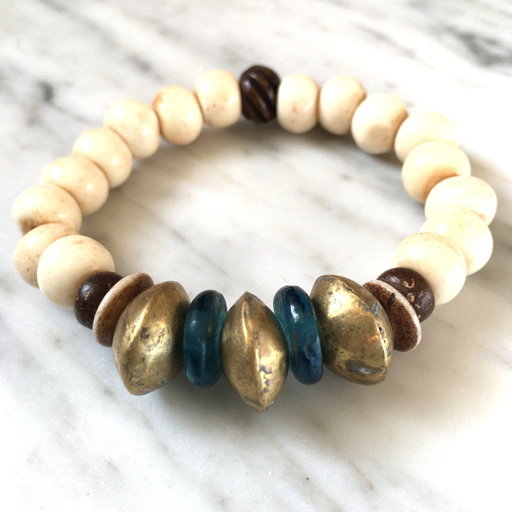 Ghana Glass Bracelet | Teal + Nigerian Brass - burnmark