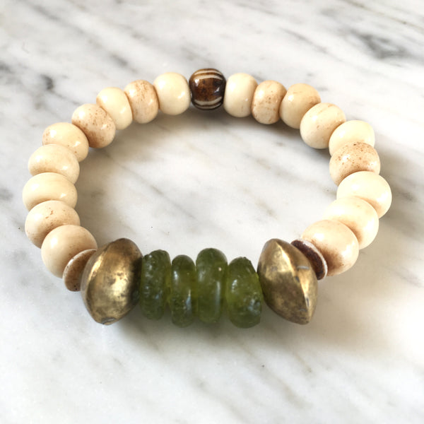 Ghana Glass Bracelet | Forest Green + Nigerian Brass - burnmark