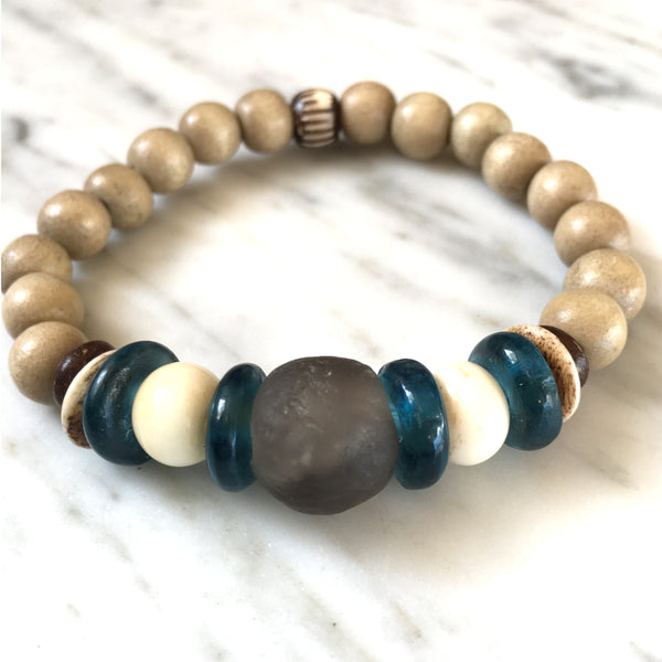 Ghana Glass Bracelet | Almond + Teal - burnmark