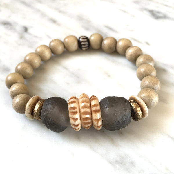 Ghana Glass Bracelet | Almond + Nigerian Brass - burnmark