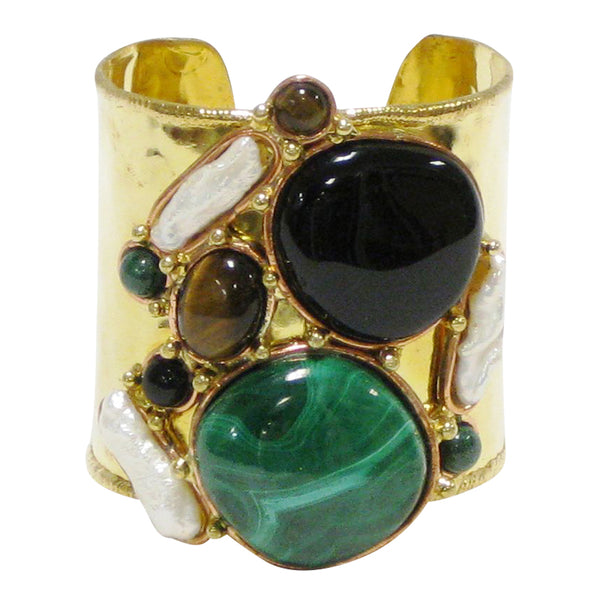 Gemstone Cuff | Onyx + Malachite - burnmark