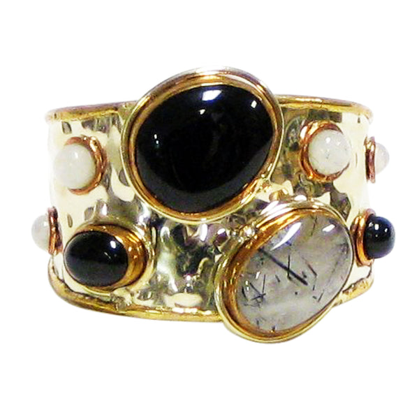 Gemstone Cuff | Onyx + Moonstone - burnmark