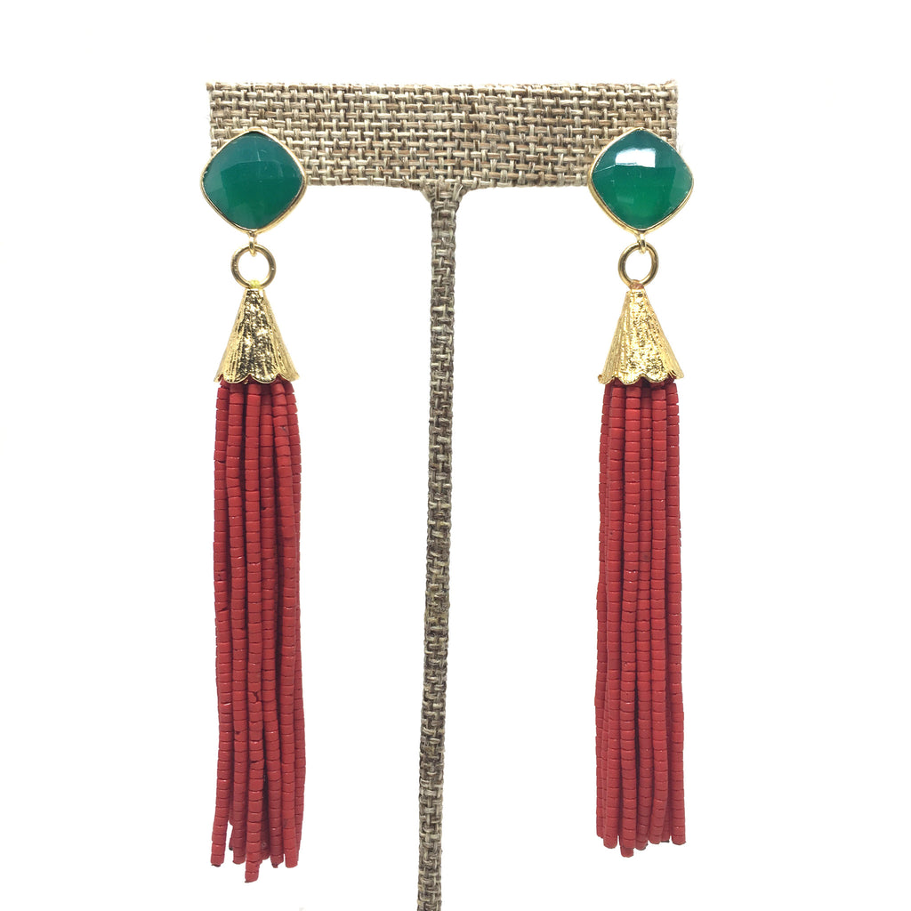 Tassel Posts | Red + Emerald - burnmark