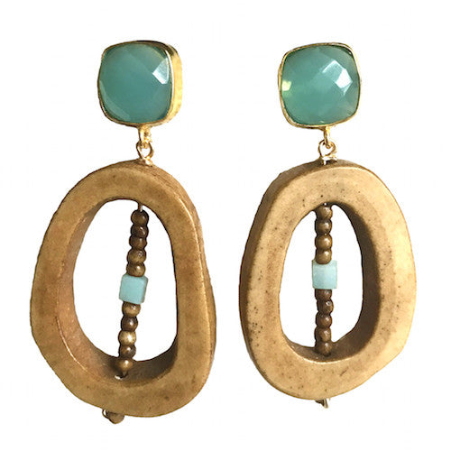 Open Drop Earrings | Aqua Chalcedony - burnmark