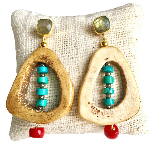 Open Drop Earrings |  Bamboo Coral + Turquoise - burnmark