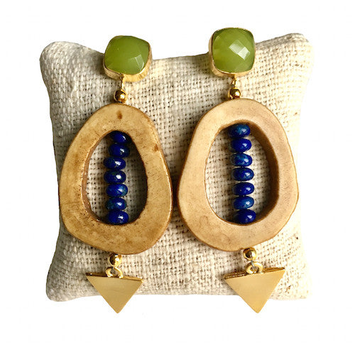 Open Drop Earrings |  Lapis + Chalcedony - burnmark