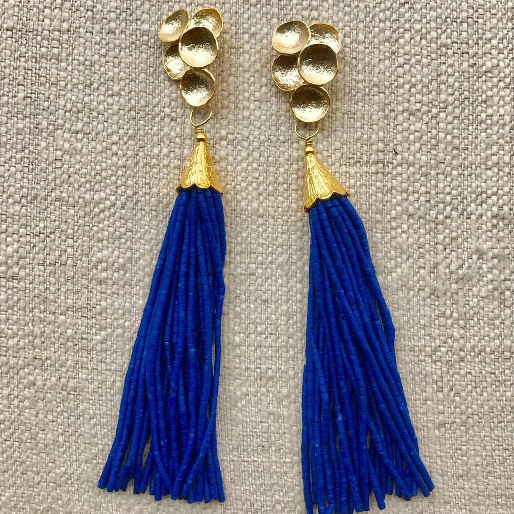 Long Tassel Earrings | Cobalt - burnmark