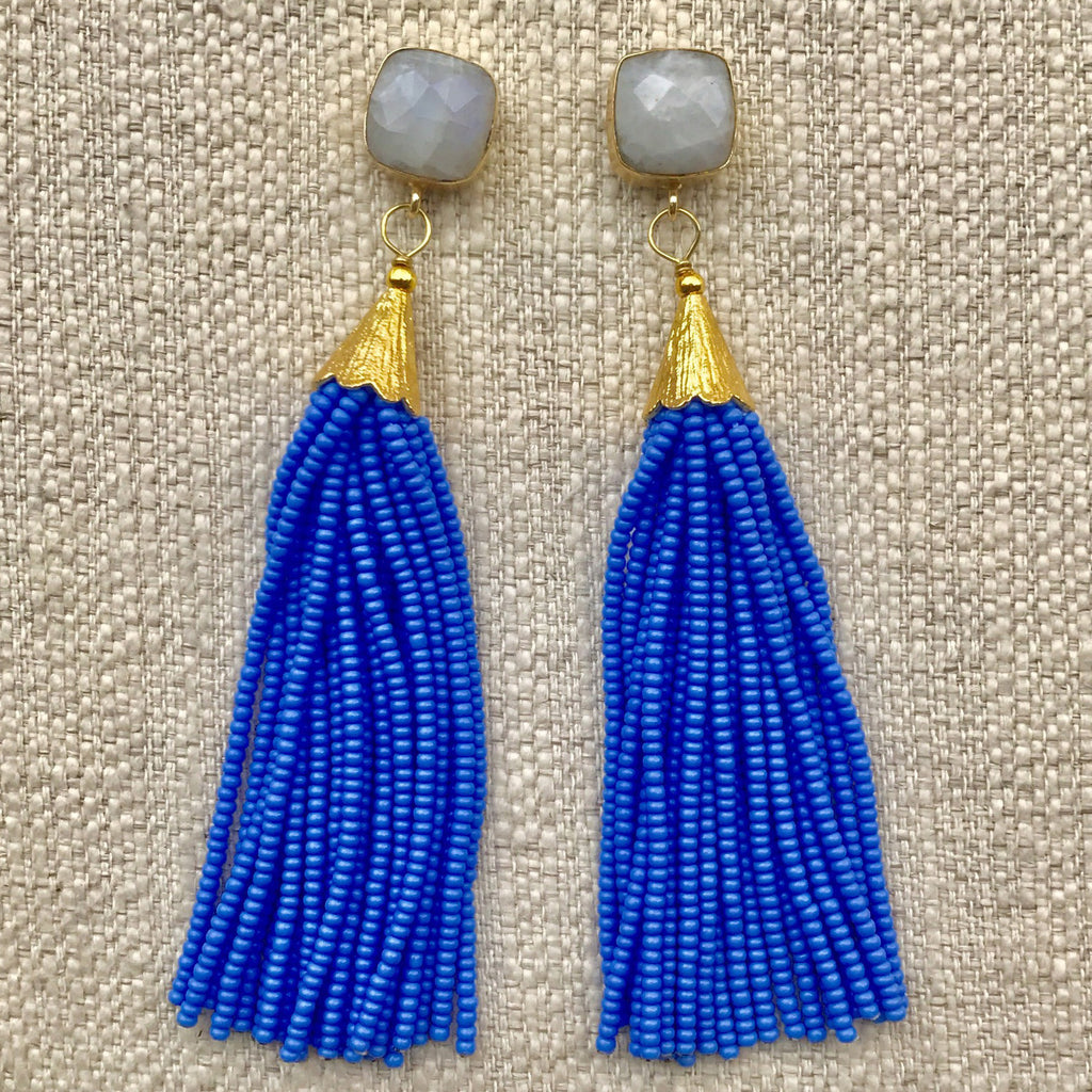 Long Tassel Earrings | Baby Blue + Moonstone - burnmark