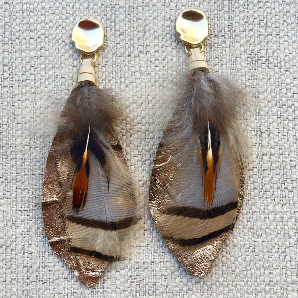 Feather Earrings | Metallic + Cream - burnmark
