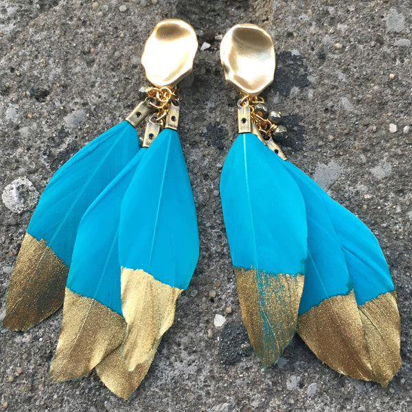 Gold Dipped Feather Earrings | Turquoise - burnmark