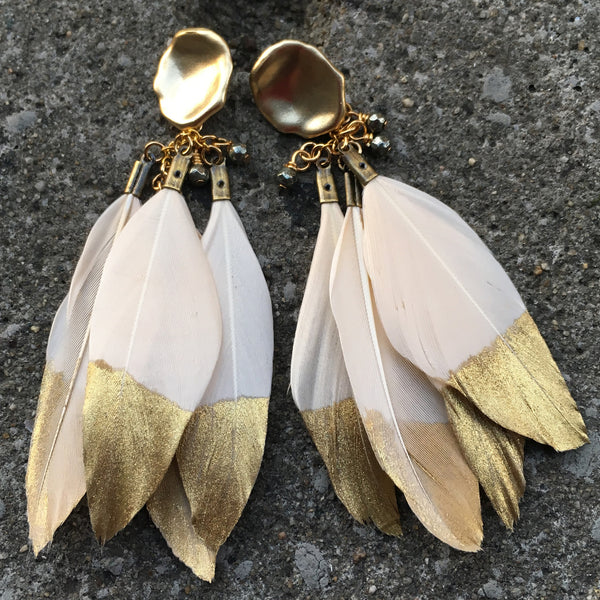 Gold Dipped Feather Earrings | Cream - burnmark