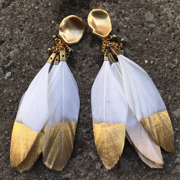 Gold Dipped Feather Earrings | White - burnmark