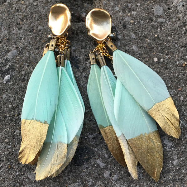 Gold Dipped Feather Earrings | Mint - burnmark