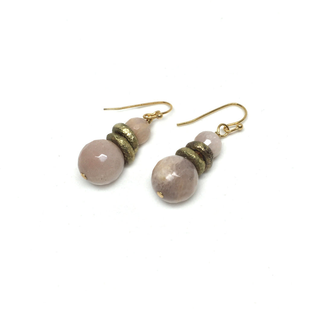 Peach Moonstone Earrings - burnmark