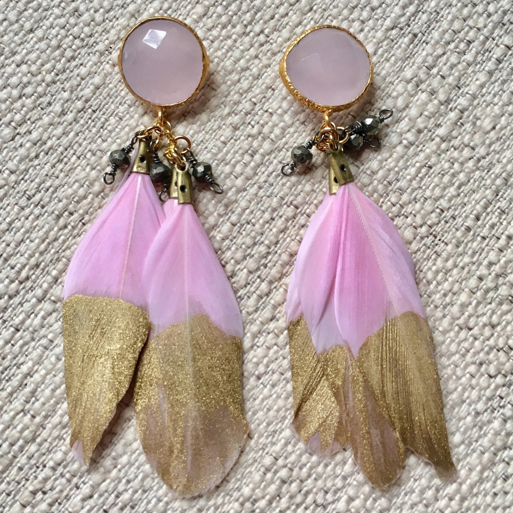 Feather Earrings | Petal Pink + Rose Quartz - burnmark