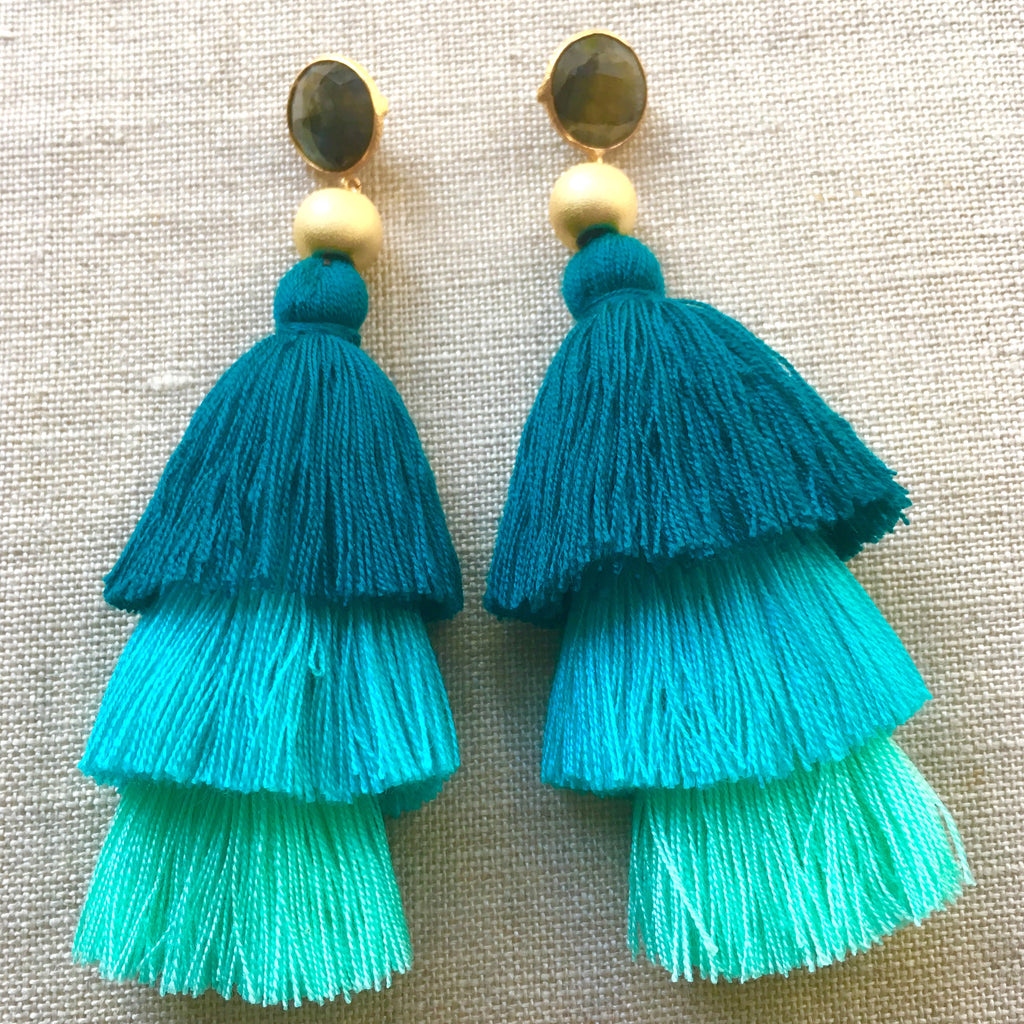 Ombre Tassel Earrings | Turquoise - burnmark