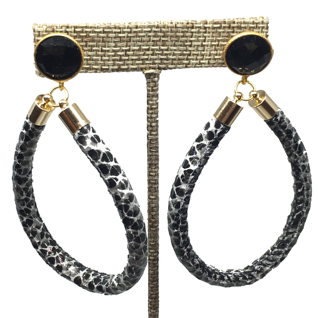 Hoop Earrings | Python + Onyx - burnmark