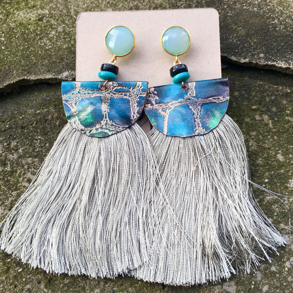 Silk Tassel Earrings | Seafoam + Turquoise - burnmark