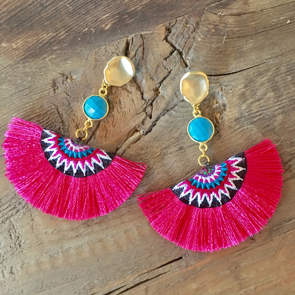 Half Moon Tassel Earrings | Turquoise + Hot Pink - burnmark
