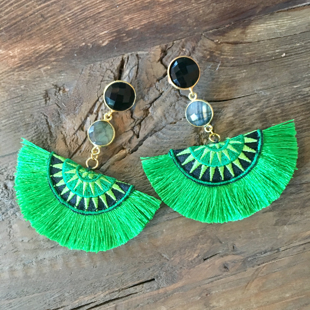 Half Moon Tassel Earrings | Green + Onyx - burnmark