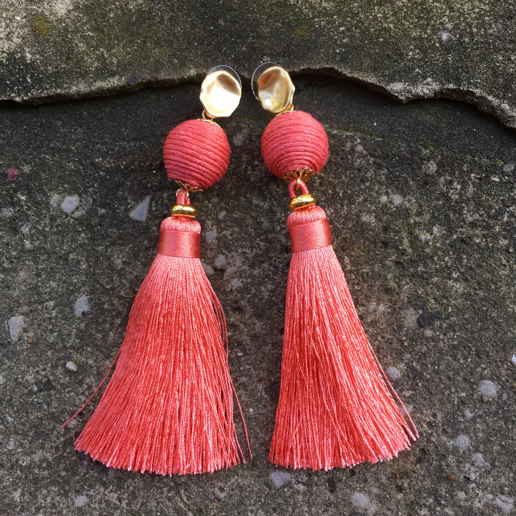 Silk Tassel Earrings | Peach - burnmark