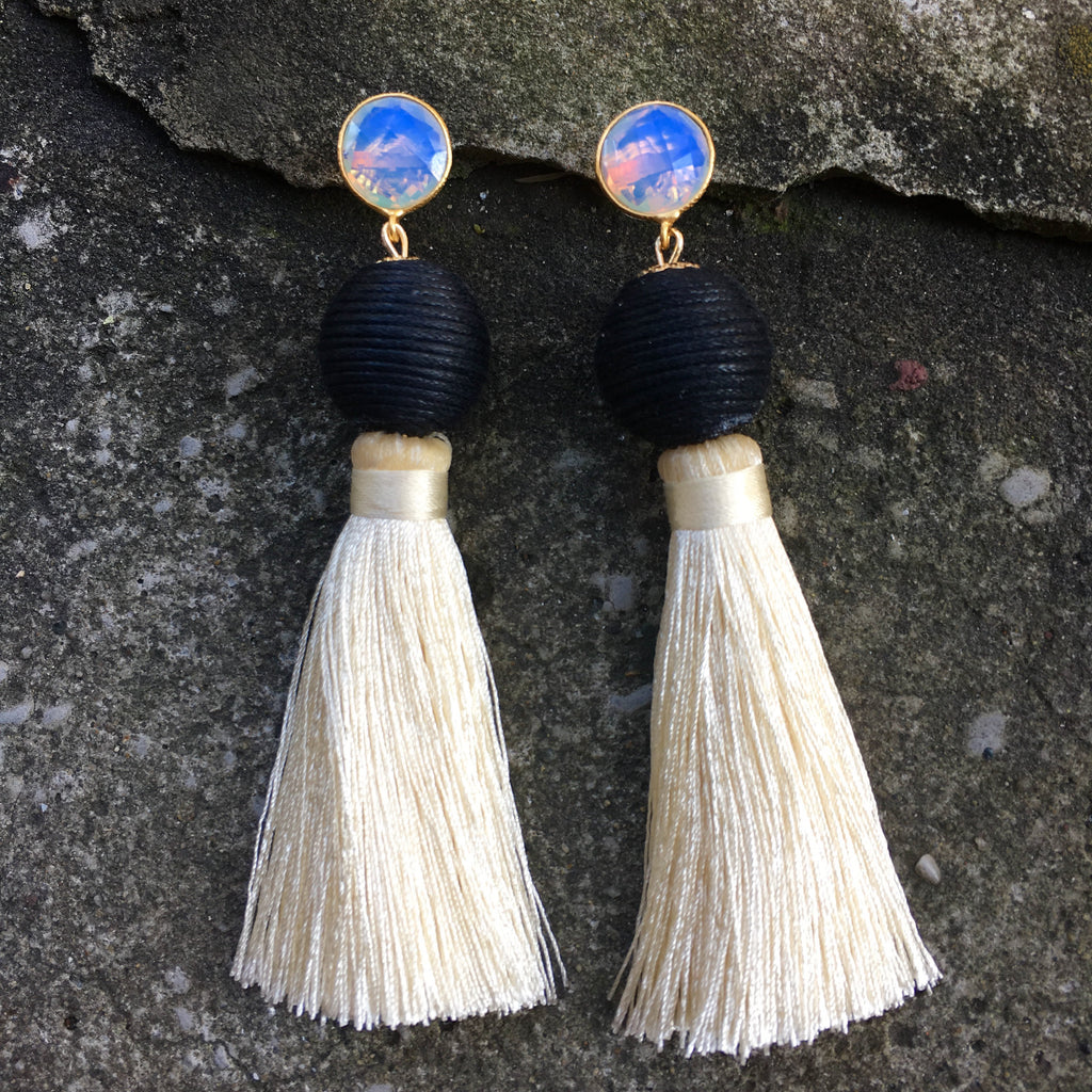 Silk Tassel Earrings | Ivory + Onyx - burnmark