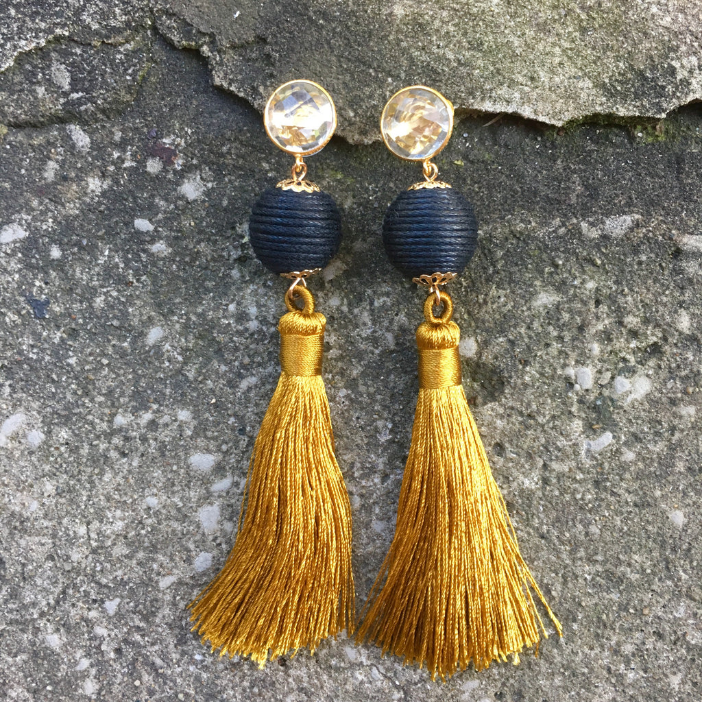 Silk Tassel Earrings | Tawny Gold + Onyx - burnmark