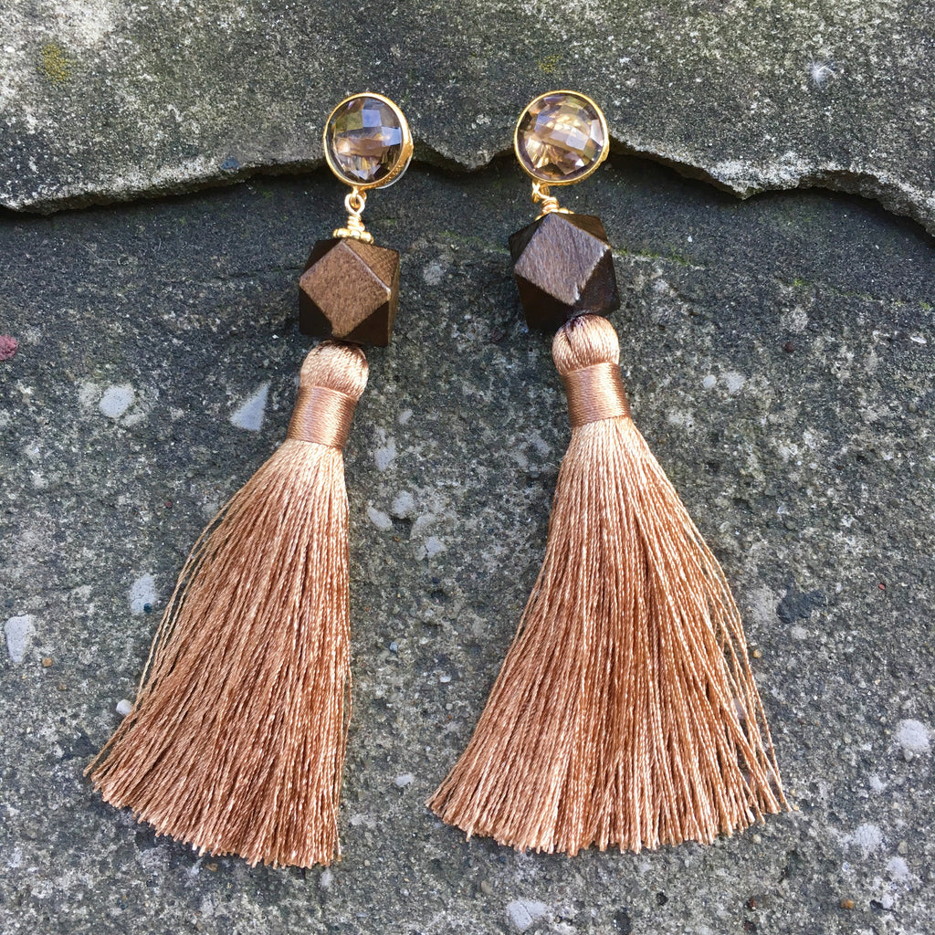 Silk Tassel Earrings | Sand + Rosewood - burnmark