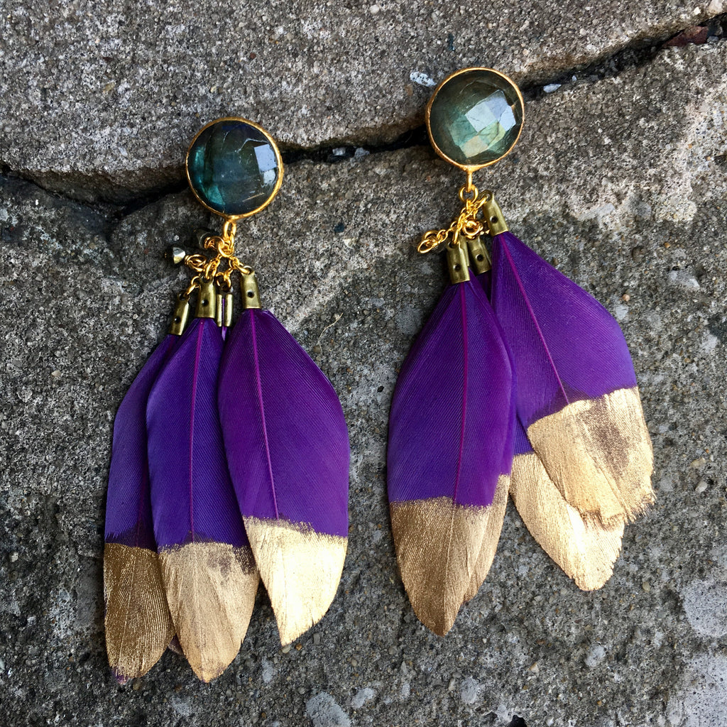 Gold Dipped Feather Earrings | Purple + Labradorite - burnmark
