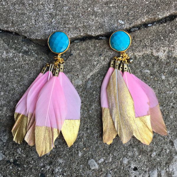 Gold Dipped Feather Earrings | Pink + Turquoise - burnmark