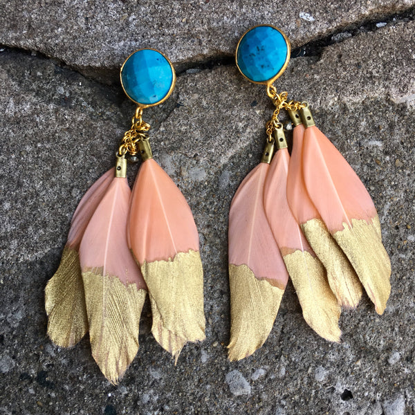 Gold Dipped Feather Earrings | Peach + Turquoise - burnmark
