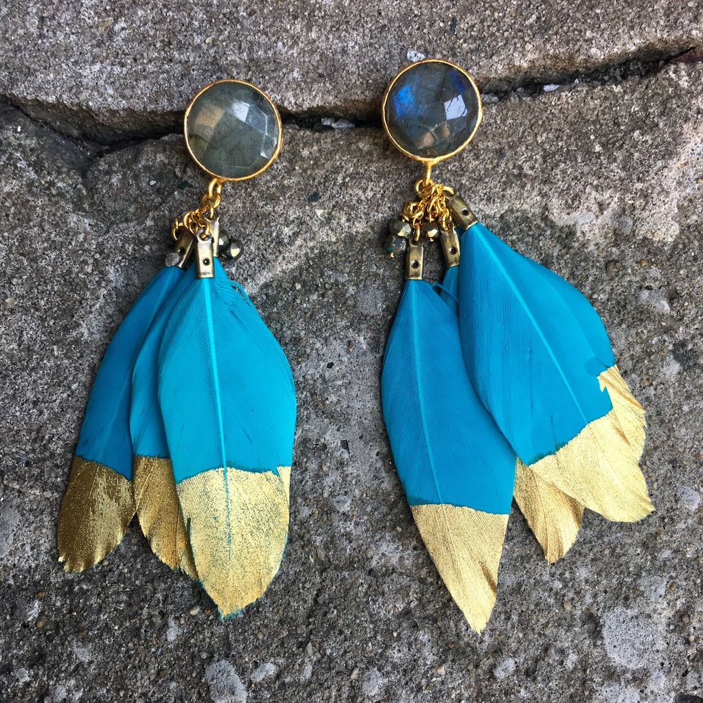 Gold Dipped Feather Earrings | Teal + Labradorite - burnmark