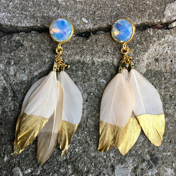 Gold Dipped Feather Earrings | Ivory + Moonstone - burnmark