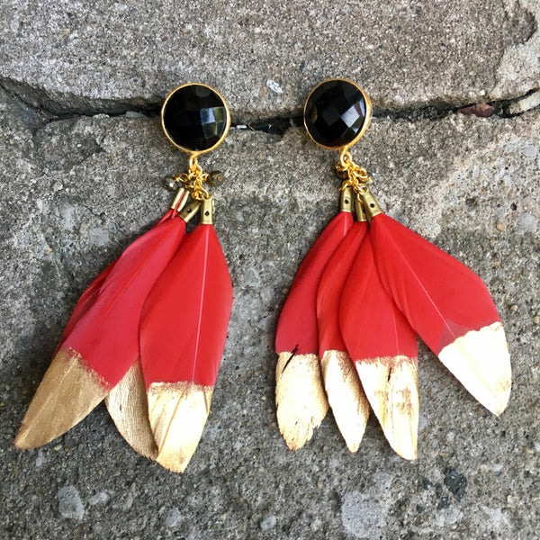 Gold Dipped Feather Earrings | Red + Onyx - burnmark