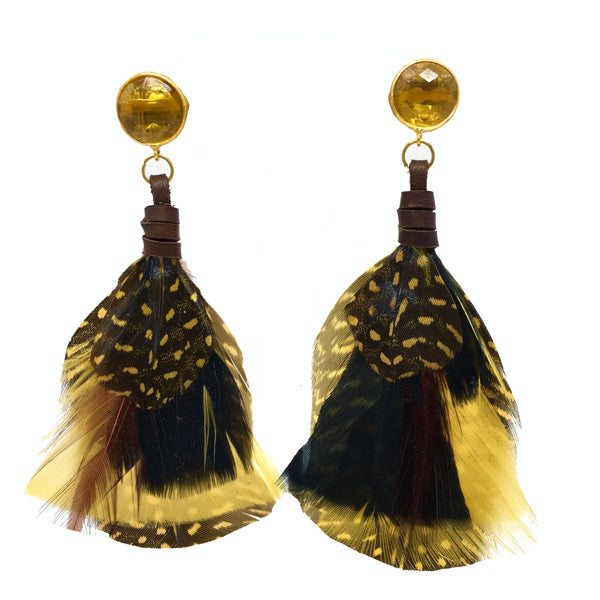 Feather Earrings | Citrine + Pheasant - burnmark