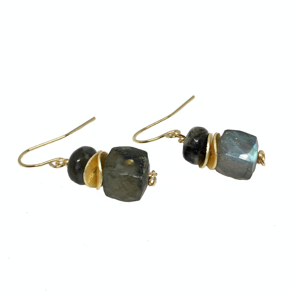 Labradorite Cube Drop Earrings - burnmark